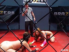 Two slutty chick are fighting for hot trophy - huge gold dildo
