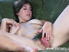 Beautiful and sexy amateur Beryl fucks her hairy bush