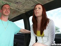 Teasing redhead Melody Jordan get in to bang bus