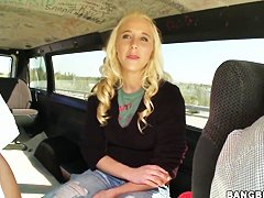 Beautiful blonde Julie J gets in bang bus for ride