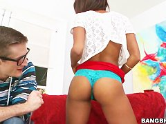 Chocolate young beauty Staci Ellis in her first time interracial scene